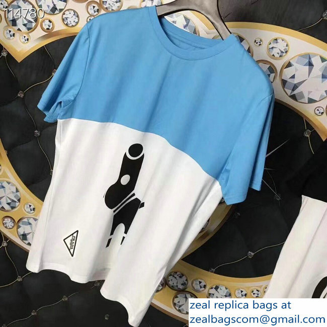 Prada Pradamalia Cotton T-shirt Sky Blue/White 2019