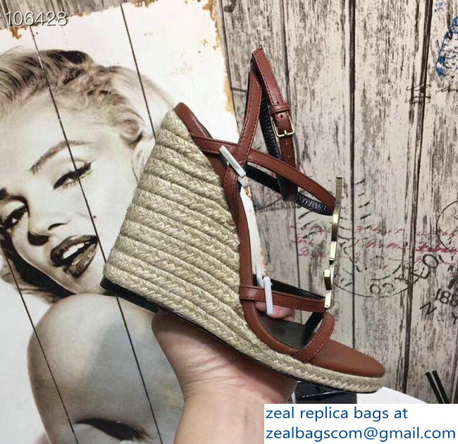 Saint Laurent Heel 10.5cm Cassandra Wedge Espadrilles Sandals Brown With YSL Logo 2019