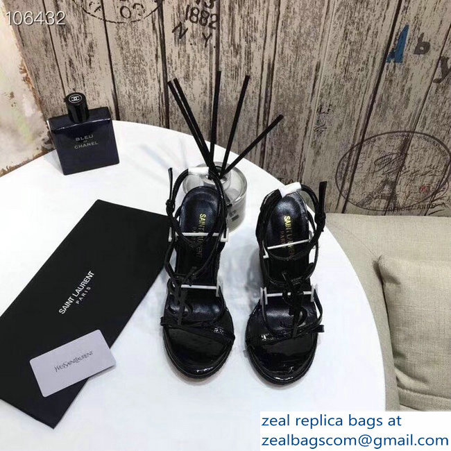 Saint Laurent Heel 10.5cm Cassandra Wedge Espadrilles Sandals Patent Black With YSL Logo 2019