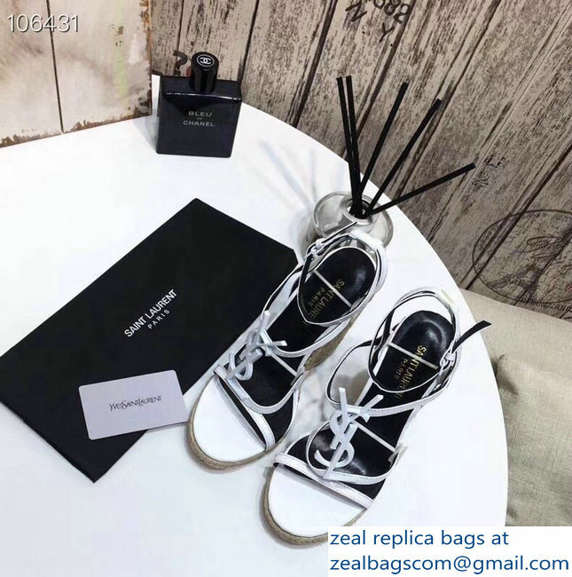 Saint Laurent Heel 10.5cm Cassandra Wedge Espadrilles Sandals White With YSL Logo 2019