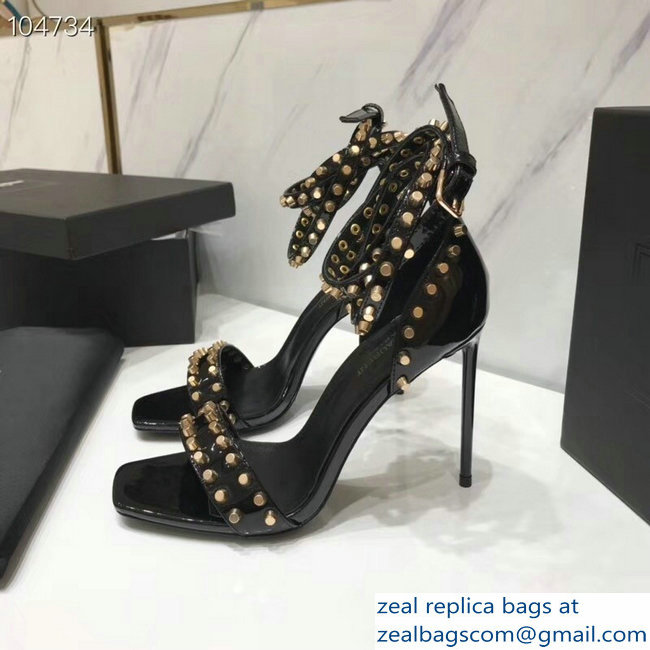 Saint Laurent Heel 11cm Amber Studs Patent Leather Sandals Black 2019