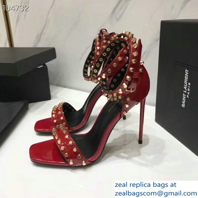 Saint Laurent Heel 11cm Amber Studs Patent Leather Sandals Red 2019