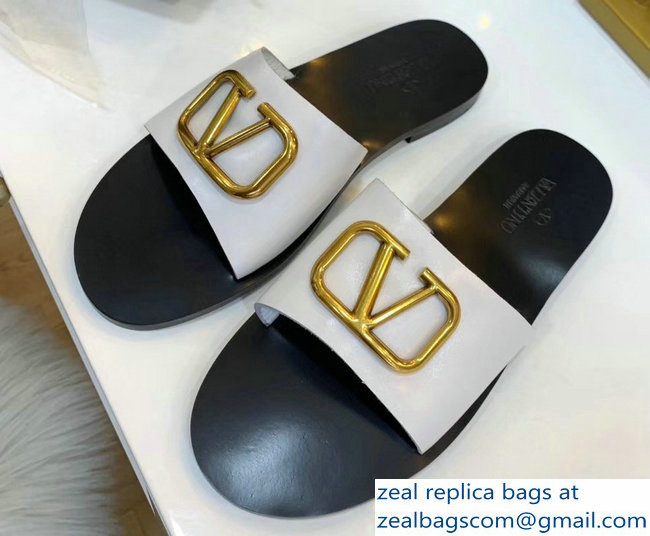 Valentino Cowhide Slip-On Slide Sandals White With Go Logo Detail 2019