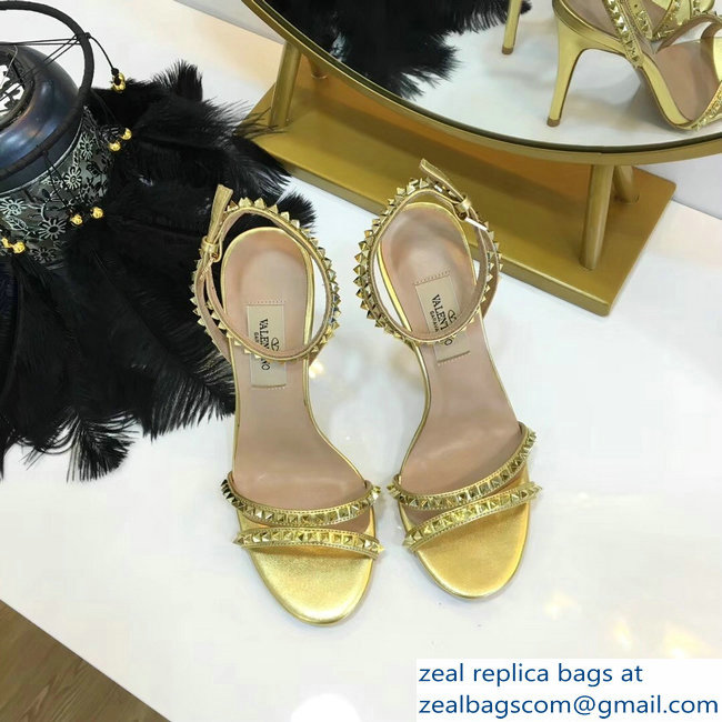 Valentino Heel 10cm Rockstud Around Sandals Gold 2019