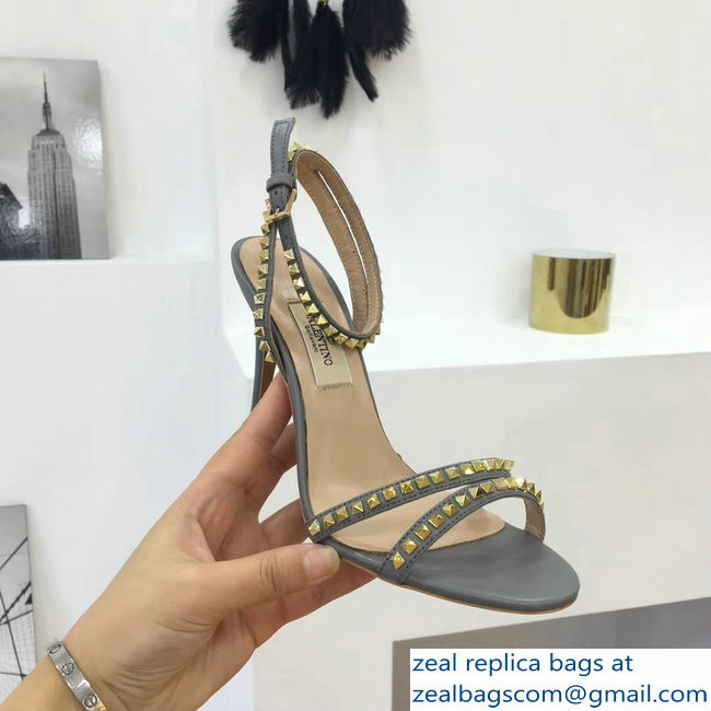 Valentino Heel 10cm Rockstud Around Sandals Gray 2019