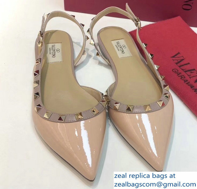 Valentino Rockstud Patent Leather Slingback Ballet Flats Nude