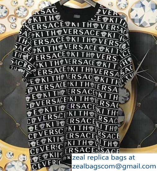 Versace All Over Logo T-Shirt Black 2019