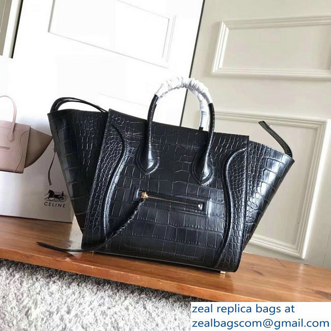 celine crocodile pattern phantom luggage black