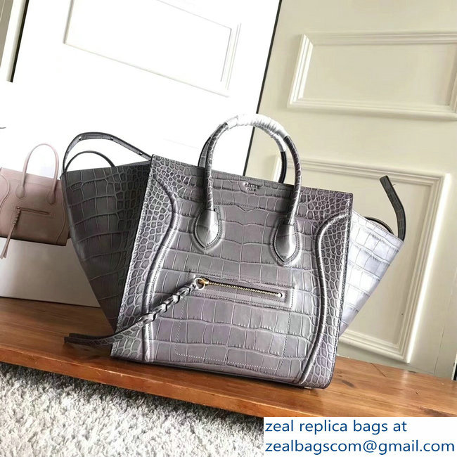 celine crocodile pattern phantom luggage gray