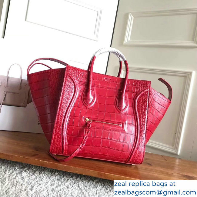 celine crocodile pattern phantom luggage red