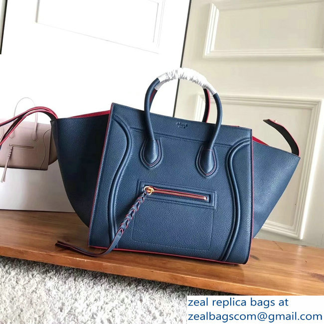 celine grained calfskin phantom luggage blue/red