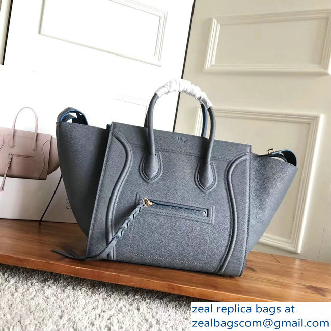 celine grained calfskin phantom luggage gray/blue