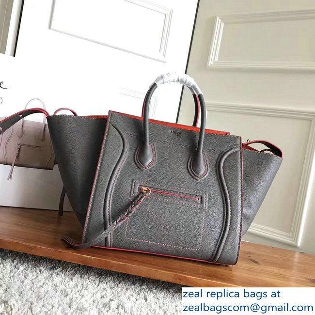 celine grained calfskin phantom luggage gray/red