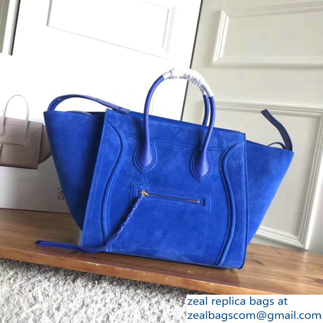 celine suede phantom luggage blue
