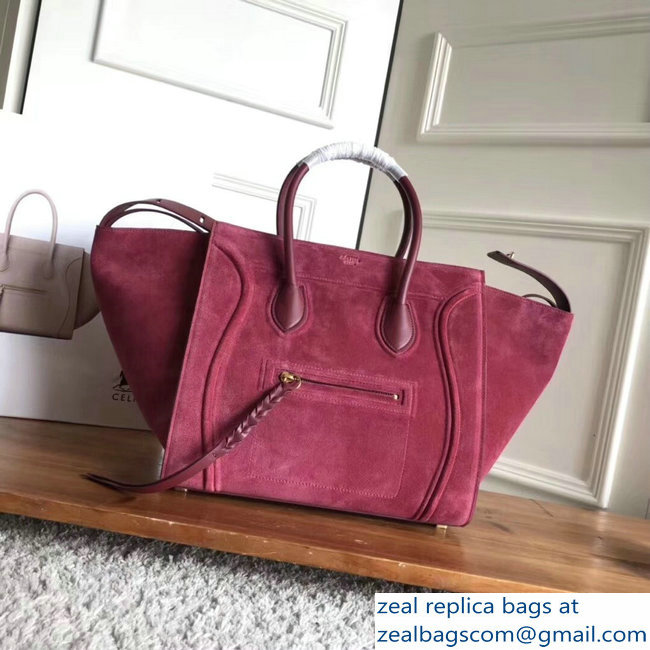 celine suede phantom luggage burgundy