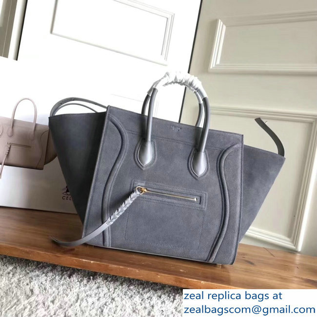 celine suede phantom luggage gray