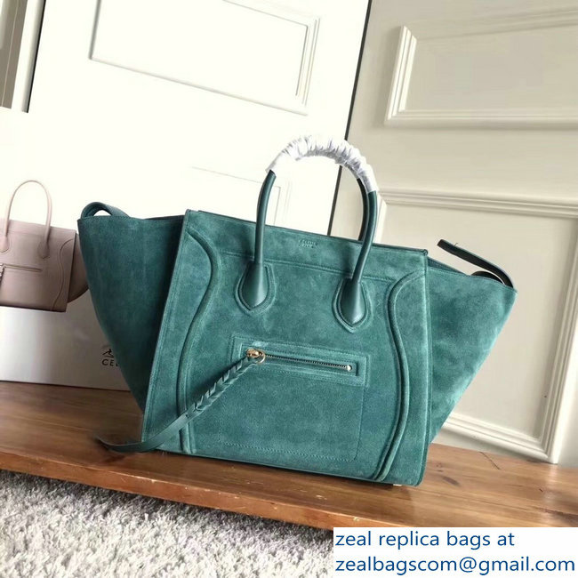 celine suede phantom luggage green