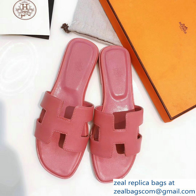 hermes pink oran slippers in box leather