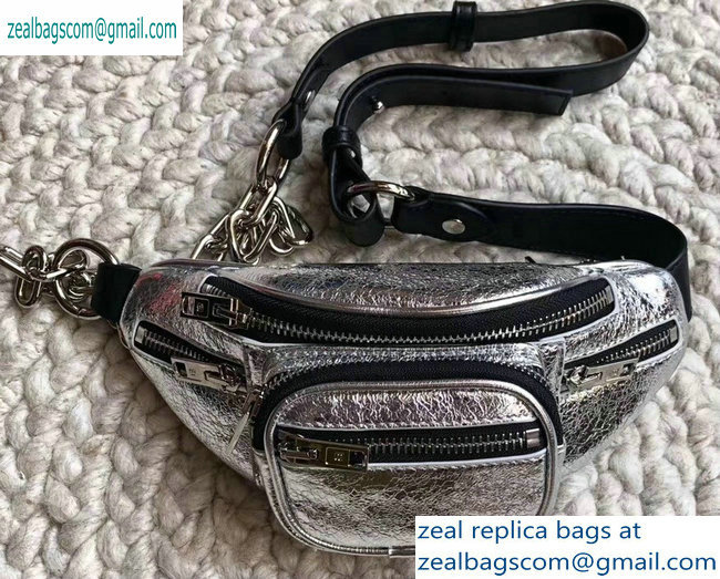 Alexander Wang Attica Fanny Pack Mini Bag Crinkled Silver 2019