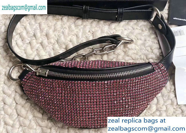 Alexander Wang Attica Fanny Pack Mini Bag with Pink Crystal Rhinestone Chain 2019