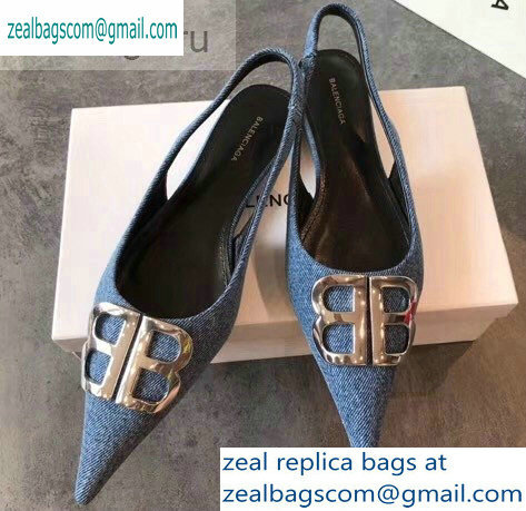 Balenciaga BB Logo Flat Slingbacks Denim 2019