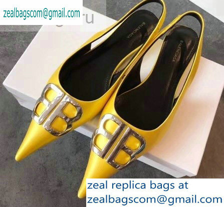 Balenciaga BB Logo Flat Slingbacks Yellow 2019