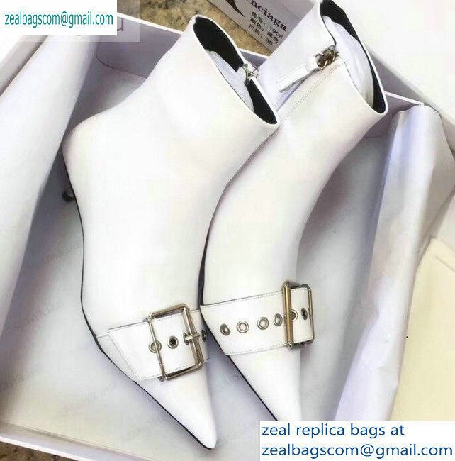 Balenciaga Heel 4.5cm Belt Zipped Booties White 2019