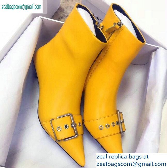 Balenciaga Heel 4.5cm Belt Zipped Booties Yellow 2019