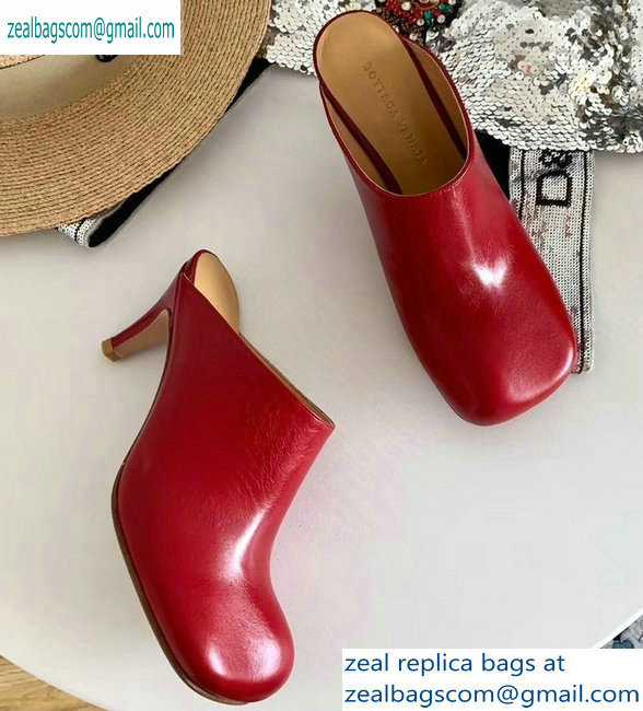 Bottega Veneta Heel 8.5cm Square Toe Bloc Mules Red 2019