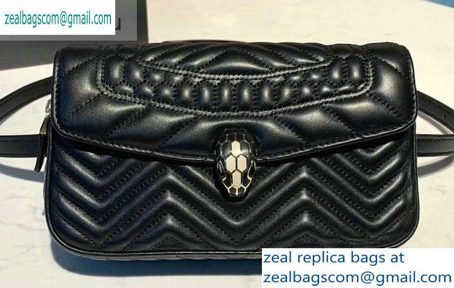Bvlgari Serpenti Forever Belt Bag in Quilted Chevron Leather Black 2019