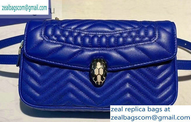Bvlgari Serpenti Forever Belt Bag in Quilted Chevron Leather Blue 2019