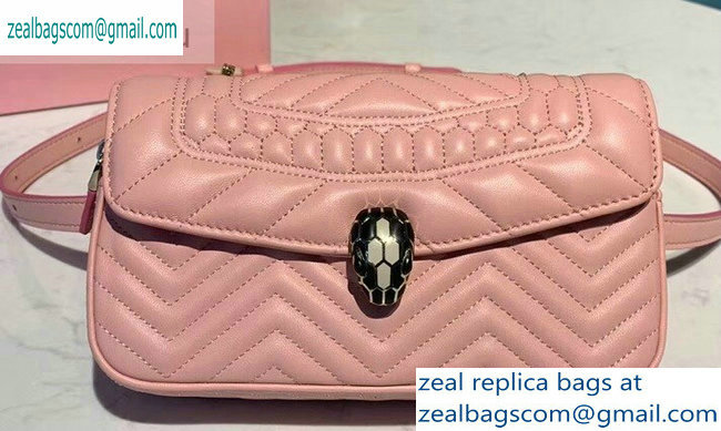 Bvlgari Serpenti Forever Belt Bag in Quilted Chevron Leather Pink 2019