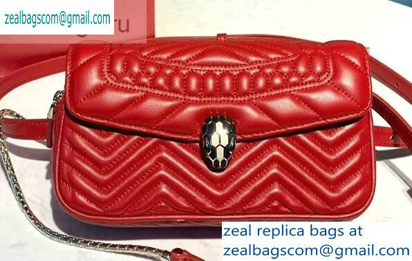 Bvlgari Serpenti Forever Belt Bag in Quilted Chevron Leather Red 2019