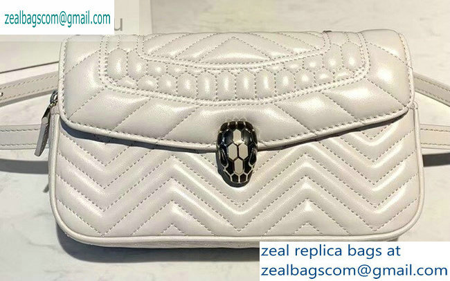 Bvlgari Serpenti Forever Belt Bag in Quilted Chevron Leather White 2019