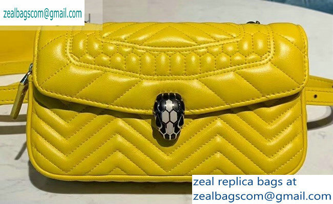 Bvlgari Serpenti Forever Belt Bag in Quilted Chevron Leather Yellow 2019