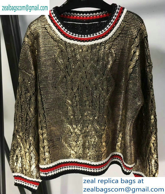 Chanel Metallic Crewneck Sweater Bronze 2019
