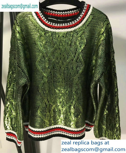 Chanel Metallic Crewneck Sweater Green 2019