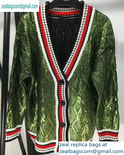 Chanel Metallic Sweater Cardigan Green 2019