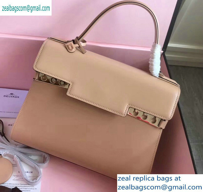 Delvaux Calfskin Tempete MM Top Handle Tote Bag Apricot