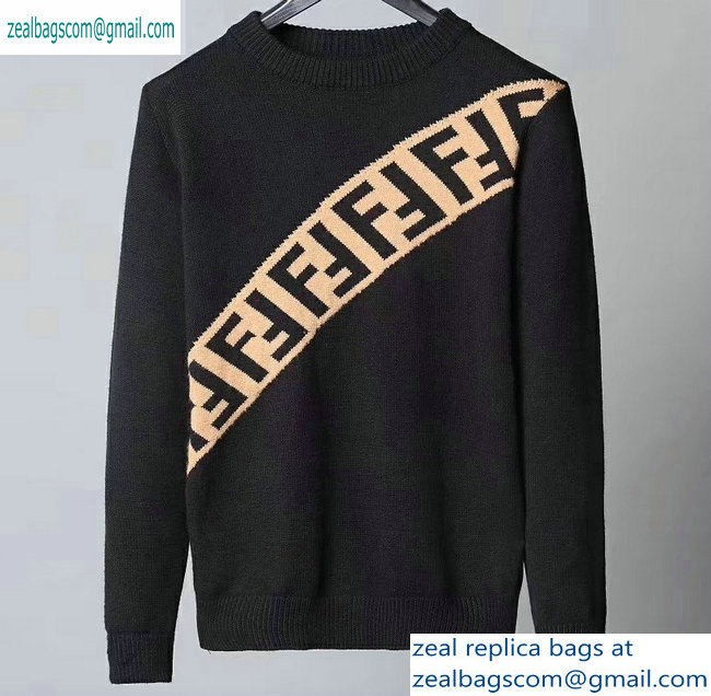 Fendi FF Logo Diagnal Sweater Black 2019