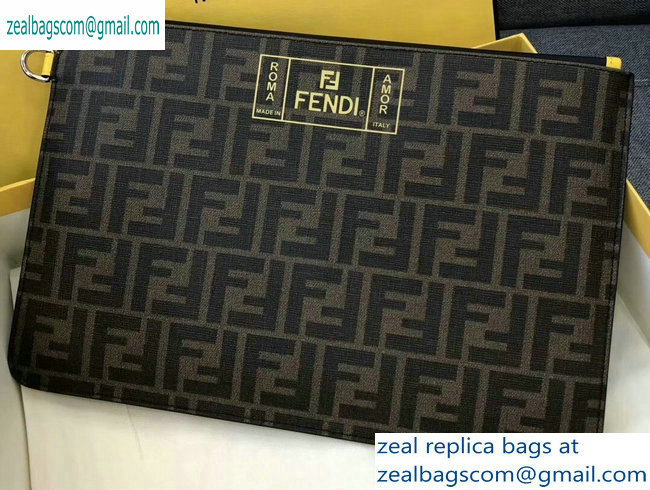 Fendi FF Logo Fabric Zippered Pochette Pouch Bag Brown/Yellow Piping 2019