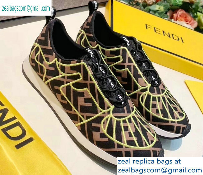 Fendi Multicolor Lycra FFreedom Slip-on Sneakers Brown/Green 2019