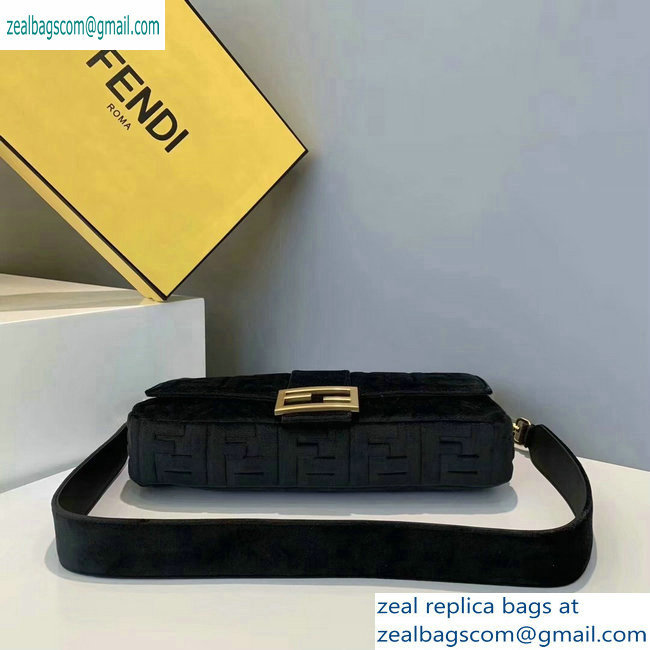 Fendi Velvet Embossed FF Motif Baguette Large Bag Black 2019