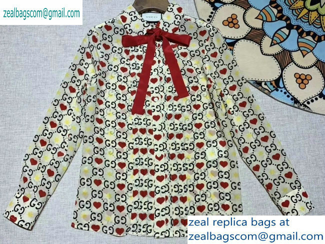 Gucci GG and Red Heart Print Shirt 2019