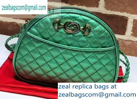 Gucci Laminated Leather Mini Shoulder Bag 534951 Green 2019