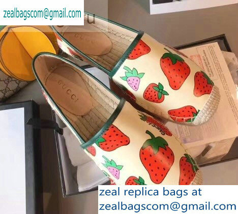 Gucci Leather Strawberry Print Espadrilles 2019