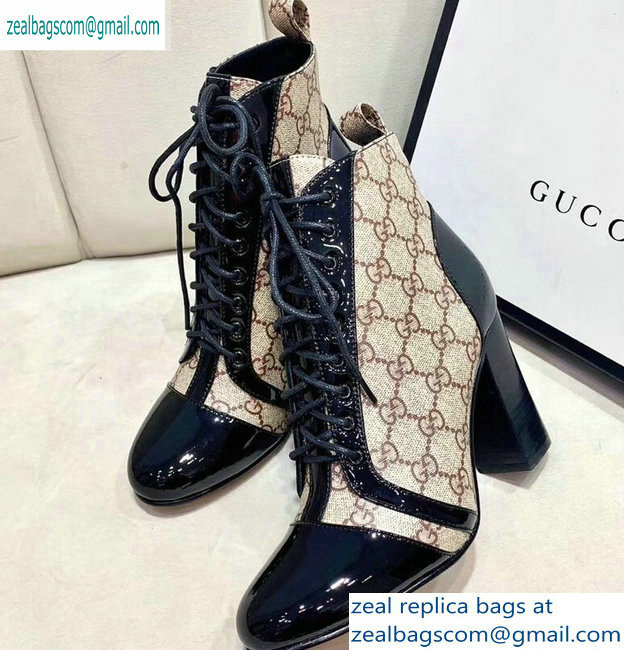 Gucci Patent Black Lace-up Ankle Boots GG Beige 2019
