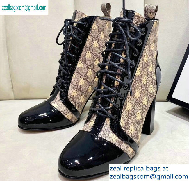 Gucci Patent Black Lace-up Ankle Boots GG Beige Bee 2019