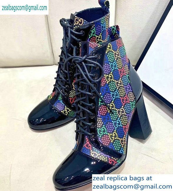 Gucci Patent Black Lace-up Ankle Boots GG Multicolor Stars 2019