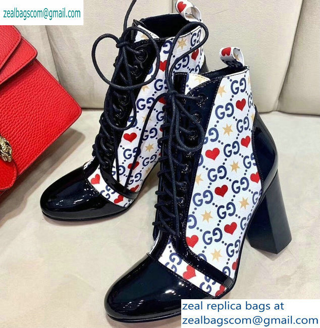 Gucci Patent Black Lace-up Ankle Boots GG Star and Heart 2019